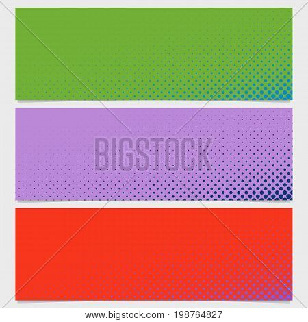 Halftone circle pattern banner background set - vector design from dots in varying sizes