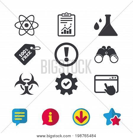Attention and biohazard icons. Chemistry flask sign. Atom symbol. Browser window, Report and Service signs. Binoculars, Information and Download icons. Stars and Chat. Vector