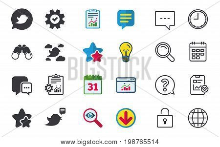 Birds icons. Social media speech bubble. Short messages chat symbol. Chat, Report and Calendar signs. Stars, Statistics and Download icons. Question, Clock and Globe. Vector