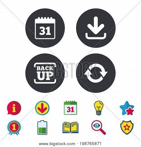 Download and Backup data icons. Calendar and rotation arrows sign symbols. Calendar, Information and Download signs. Stars, Award and Book icons. Light bulb, Shield and Search. Vector