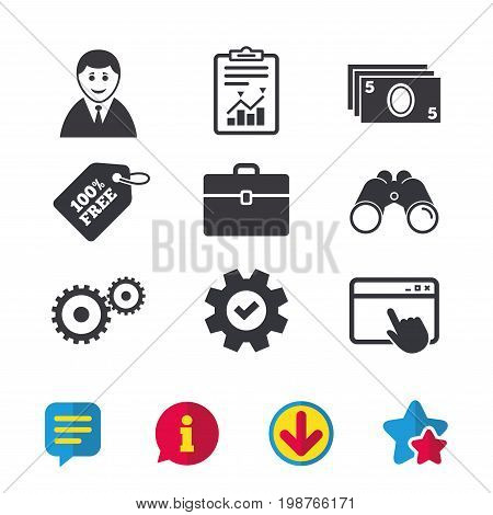 Businessman icons. Human silhouette and cash money signs. Case and gear symbols. Browser window, Report and Service signs. Binoculars, Information and Download icons. Stars and Chat. Vector