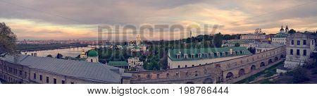 Panorama of Kiev - churches and administrative buildings of Kiev-Pechersk Lavra overlooking the Dnieper, view from Lavra's, observation platform, hystorical Kiev
