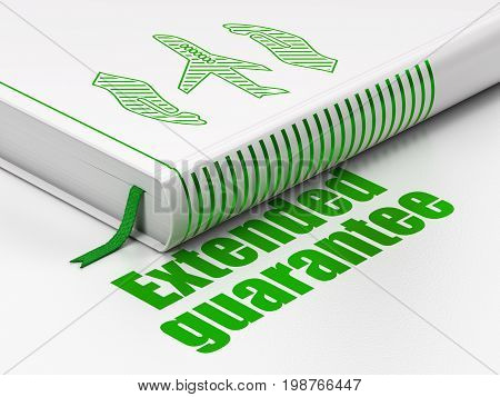 Insurance concept: closed book with Green Airplane And Palm icon and text Extended Guarantee on floor, white background, 3D rendering