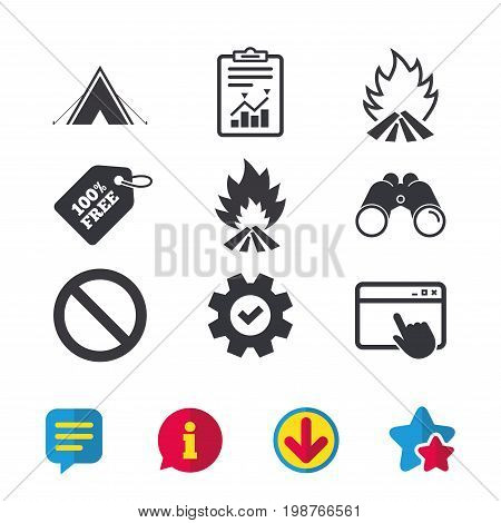 Tourist camping tent icon. Fire flame and stop prohibition sign symbols. Browser window, Report and Service signs. Binoculars, Information and Download icons. Stars and Chat. Vector