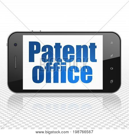 Law concept: Smartphone with  blue text Patent Office on display,  Tag Cloud background, 3D rendering