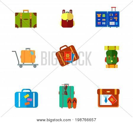 Baggage icon set. Travel Suitcase Backpack Open Travel Suitcase on Cart Suitcase and Passports Hiking Backpack Flip Flops and Sunglasses Packing Bag