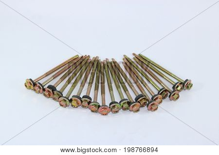 Self drilling screws for fibre cement roof isolated on white background