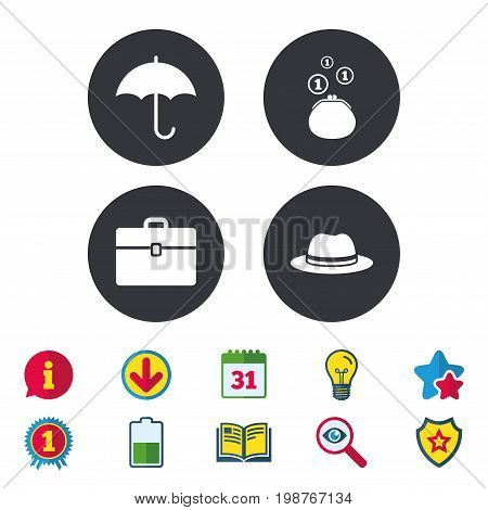 Clothing accessories icons. Umbrella and headdress hat signs. Wallet with cash coins, business case symbols. Calendar, Information and Download signs. Stars, Award and Book icons. Vector