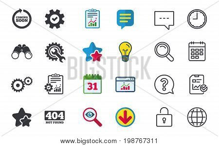 Coming soon rotate arrow icon. Repair service tool and gear symbols. Wrench sign. 404 Not found. Chat, Report and Calendar signs. Stars, Statistics and Download icons. Question, Clock and Globe