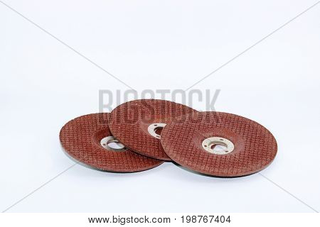 Three wheels for hand circular saw or stone grinding isolated on white background cutting disks