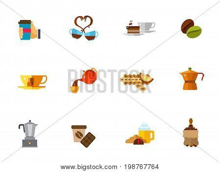 Brewing coffee icon set. Hand Holding Hot Coffee Cup of Coffee and Piece of Cake Pouring into Cup Coffee Cup Espresso Maker Bag with Shovel Chocolate Kopi Luwak