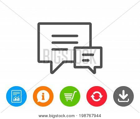 Chat line icon. Speech bubble sign. Communication or Comment symbol. Report, Information and Refresh line signs. Shopping cart and Download icons. Editable stroke. Vector