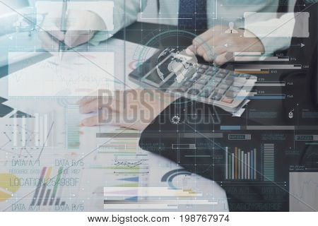 business accountant with document technology graph financial on office table. concept analysis finance.