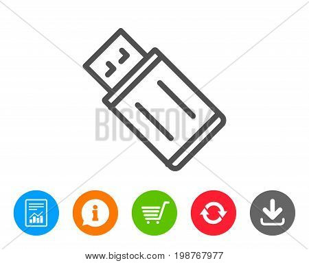 USB flash drive line icon. Memory stick sign. Portable data storage symbol. Report, Information and Refresh line signs. Shopping cart and Download icons. Editable stroke. Vector
