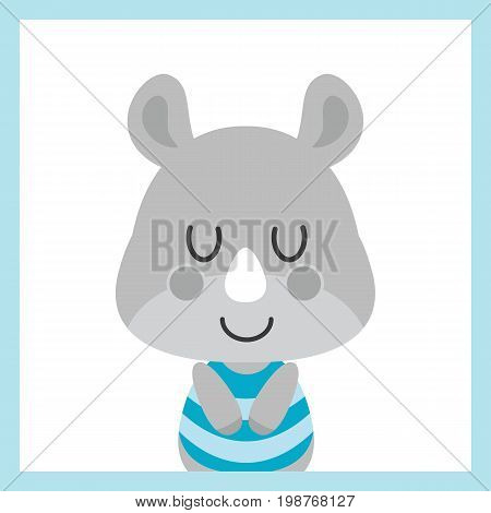 Cute baby rhino sleeps on white background vector cartoon illustration for baby shower card design, postcard, and wallpaper