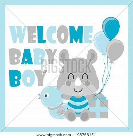 Cute baby rhino sits between duck toy and gift box vector cartoon illustration for baby shower card design, postcard, and wallpaper