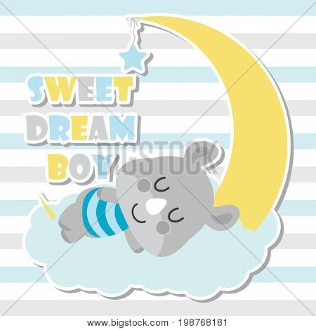 Cute baby rhino sleeps on cloud and moon vector cartoon illustration for baby shower card design, postcard, and wallpaper