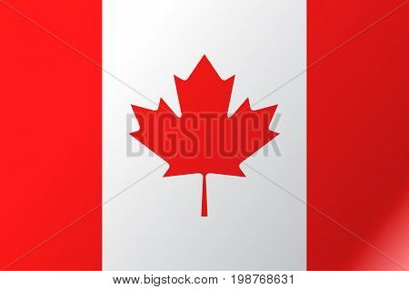 Flag Canada flat icon. State insignia of the nation in flat style on the entire page. National symbol in the form of a vector illustration