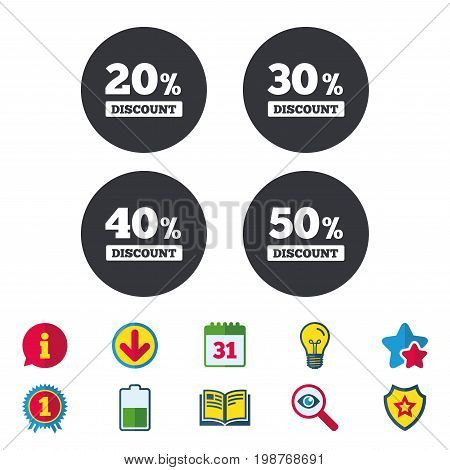 Sale discount icons. Special offer price signs. 20, 30, 40 and 50 percent off reduction symbols. Calendar, Information and Download signs. Stars, Award and Book icons. Light bulb, Shield and Search