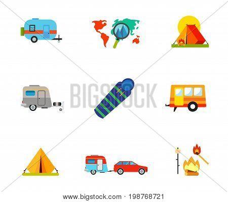 Camping icon set. Caravan Vacation Destination on Map Camping Tent Sleeping Bag Trailer Caravan Travel Car Campfire with Marshmallow