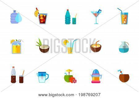 Cocktails icon set. Water Dispenser Tasty Cuba Libre Drink Coconut Cocktail Soda Glass Summer Drink Electric Juicer Water Filter Jug Orange Juice