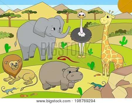 Animals of Africa savanna book for adults vector illustration. For adult giraffe, lion, tiger, hippopotamus, lizard, elephant, nature, snake and ostrich. Lace pattern