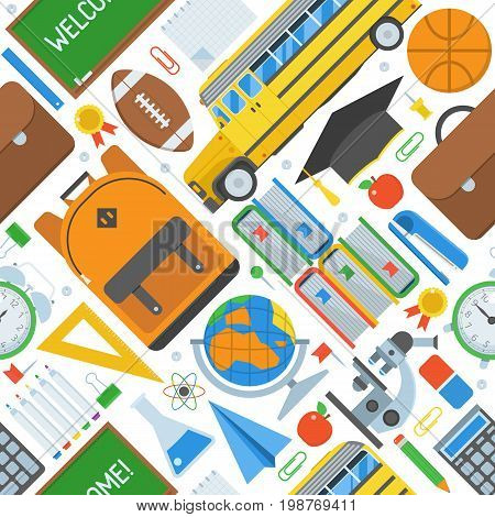 Basic education seamless background. Back to school pattern with study and learning icons and stationery elements.
