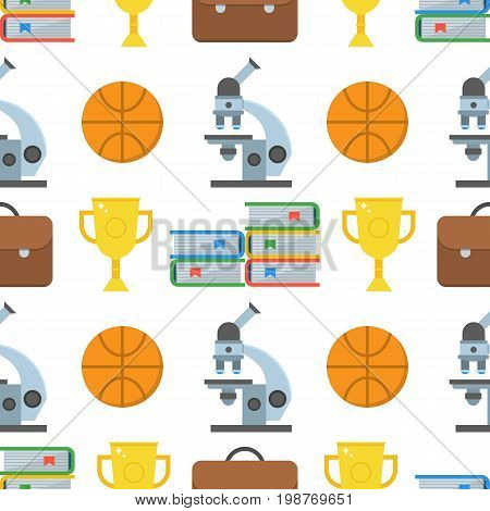 Education seamless background with microscope, basketball ball, trophy, books and schoolbag. College and school pattern with study and learning icons.