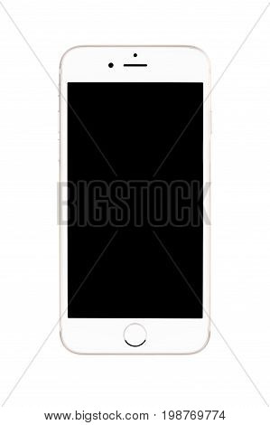 Varna Bulgaria - September 22 2016: Front view of Gold Apple iPhone 6S mockup with black screen. Isolated on white.