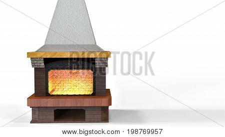 3D Rendering. Wood Burning Fireplace