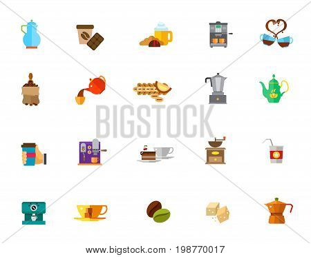 Coffee time icon set. Coffee Bean Hand Holding Hot Coffee Espresso Coffee Maker Coffee Mill Sugar Machine Cup Pouring Teapot Love Chocolate Breakfast Bag with Shovel Dessert