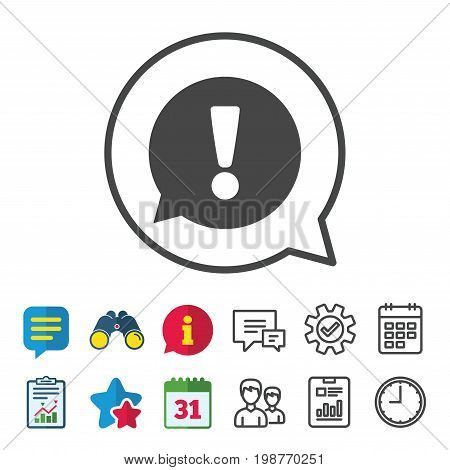 Exclamation mark sign icon. Attention speech bubble symbol. Information, Report and Calendar signs. Group, Service and Chat line icons. Vector
