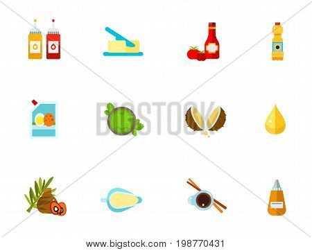 Condiments icon set. Ketchup And Mustard Bottles Butter Ketchup And Tomatoes Cooking Oil Bottle Mayonnaise In Bag Green Pesto Sauce Coconut Oil Drop Palm Oil Sour Cream Soy Sauce
