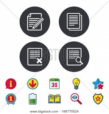 File document icons. Search or find symbol. Edit content with pencil sign. Remove or delete file. Calendar, Information and Download signs. Stars, Award and Book icons. Light bulb, Shield and Search