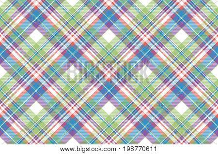Tartan color plaid fabric seamless pattern. Flat design. Vector illustration.