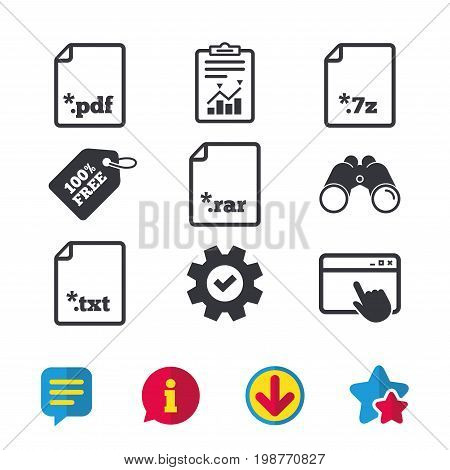 Download document icons. File extensions symbols. PDF, RAR, 7z and TXT signs. Browser window, Report and Service signs. Binoculars, Information and Download icons. Stars and Chat. Vector