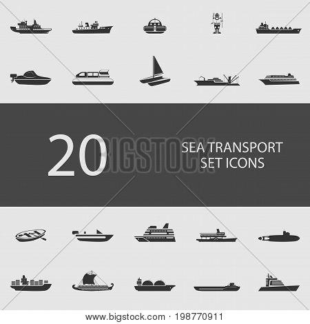 Sea transport set of flat icons. Simple vector illustration
