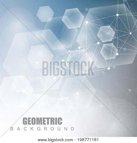 Geometric abstract background with connected line and dots. Structure molecule and communication. Scientific concept for your design. Medical, technology, science background. illustration