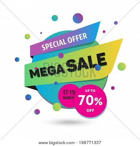 Mega Sale - modern vector color label illustration. Use this high quality image for marketing banners, flyers, cards, commercials and advertisement. Promote big discounts and special seasonal offers