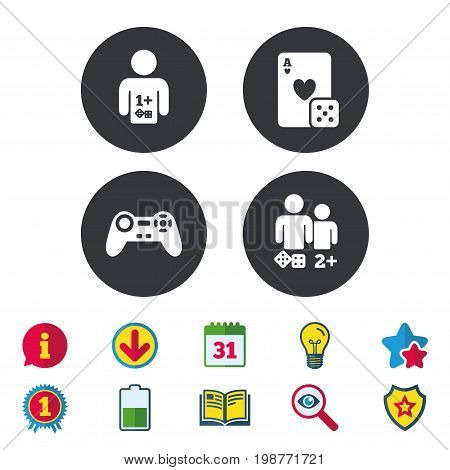 Gamer icons. Board games players signs. Video game joystick symbol. Casino playing card. Calendar, Information and Download signs. Stars, Award and Book icons. Light bulb, Shield and Search. Vector