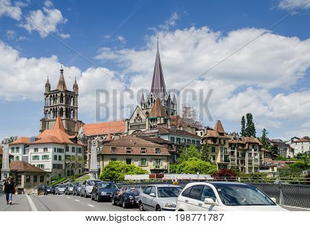 The Cathedral Of Notre Dame Of Lausanne. Switzerland