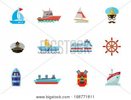 Cruise icon set. Sailing Yacht Face of Captain Captain Hat Man Rowing in Boat Cruise Ship Steering Wheel Boat with Oars Steamship Rubber Boat