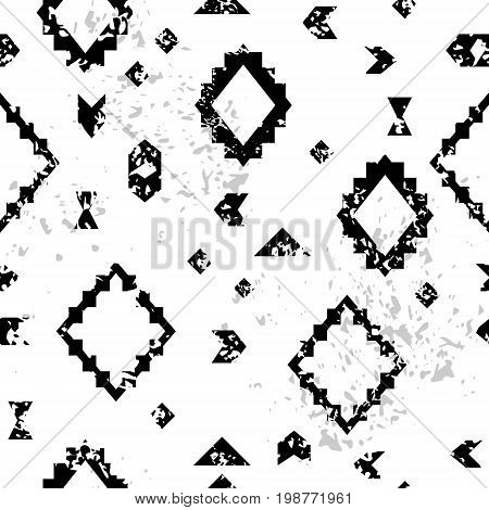 Black and white aged geometric aztec ethnic grunge seamless pattern, vector background