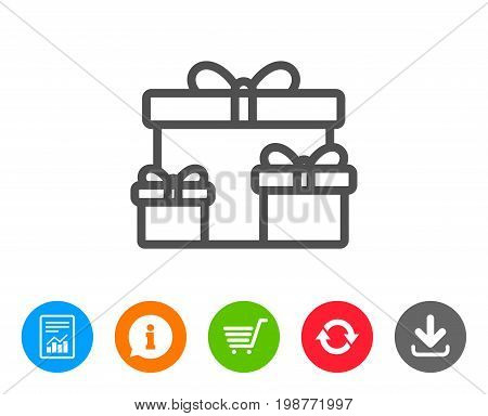 Gift boxes line icon. Present or Sale sign. Birthday Shopping symbol. Package in Gift Wrap. Report, Information and Refresh line signs. Shopping cart and Download icons. Editable stroke. Vector