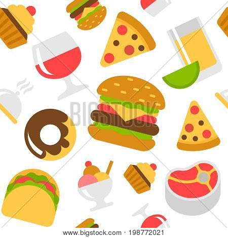 Fast food flat style vector seamless pattern