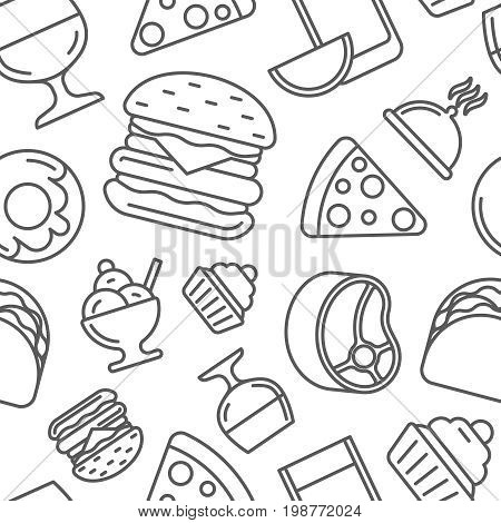 Fast food thin line vector seamless pattern