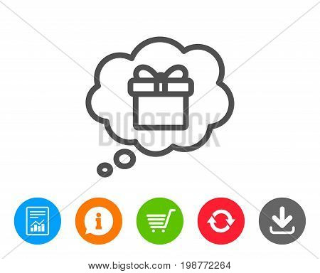 Dreaming of Gift line icon. Present box in Comic speech bubble sign. Birthday Shopping symbol. Package in Gift Wrap. Report, Information and Refresh line signs. Shopping cart and Download icons