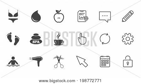 Spa, hairdressing icons. Swimming pool sign. Lingerie, scissors and hairdryer symbols. Chat, Report and Calendar line signs. Service, Pencil and Locker icons. Click, Rotation and Cursor. Vector