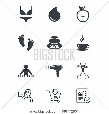 Spa, hairdressing icons. Swimming pool sign. Lingerie, scissors and hairdryer symbols. Customer service, Shopping cart and Report line signs. Online shopping and Statistics. Vector