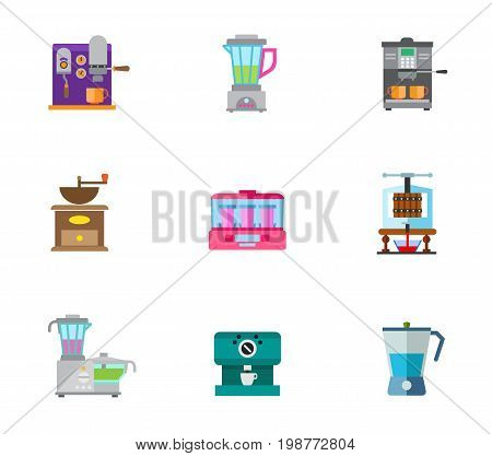 Drinks makers icon set. Coffee Machine Kitchen Blender Coffee Mill Yogurt Maker Machine Creating Wine Concept Food Processor